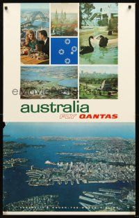 8a264 AUSTRALIA FLY QANTAS Australian travel poster '70s cool aerial shot of Sydney!