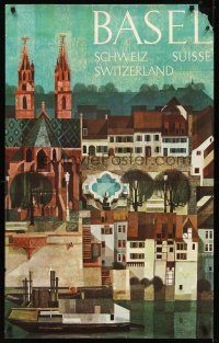 8a265 BASEL SWITZERLAND Swiss travel poster '60s wonderful Schneider art of village!