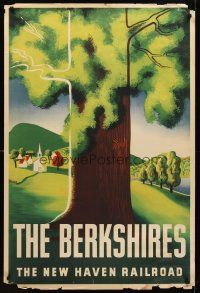 8a266 BERKSHIRES travel poster '40s vacation in the Northeast on The New Haven Railroad!