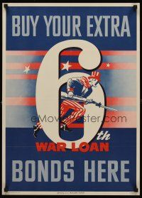 8a025 6TH WAR LOAN 19x27 WWII war poster '44 great artwork of Uncle Sam fighting!