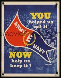 8a026 ARMY E NAVY 17x22 WWII war poster '40s Victory in Europe, Chance Vought workers!