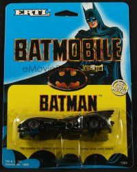 1x219 BATMAN die-cast metal car '89 cool 1/64 scale Batmobile toy with cool info on back!