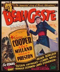 1x007 BEAU GESTE 2-sided campaign book page '39 William Wellman, Legionnaire Gary Cooper!