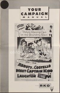 1x563 ABBOTT & COSTELLO MEET CAPTAIN KIDD pressbook R60 pirates Bud & Lou with Charles Laughton!