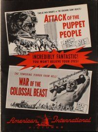1x569 ATTACK OF THE PUPPET PEOPLE/WAR OF COLOSSAL BEAST pressbook '58 Bert I. Gordon double bill!