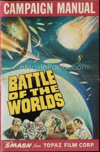 1x573 BATTLE OF THE WORLDS pressbook '63 cool sci-fi, flying saucers from a hostile enemy planet!