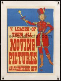 5j214 LEADER OF THEM ALL MOVING PICTURES linen special 20x28 1896 great art of female drum major!