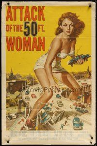7f017 ATTACK OF THE 50 FT WOMAN 1sh '58 classic art of enormous Allison Hayes over highway!