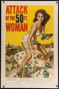 4f217 ATTACK OF THE 50 FT WOMAN linen 1sh '58 classic Brown art of Allison Hayes over highway!