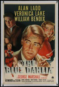 6z050 BLUE DAHLIA linen 1sh '46 art of smoking Alan Ladd, sexy Veronica Lake & William Bendix!