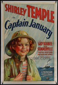 6z061 CAPTAIN JANUARY linen style B 1sh '36 great Fox stone litho of cutest sailor Shirley Temple!