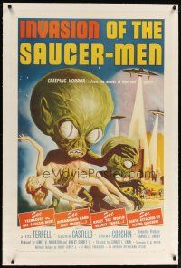 6z212 INVASION OF THE SAUCER MEN linen 1sh '57 classic art of cabbage head aliens & sexy girl!