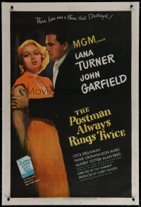 6z340 POSTMAN ALWAYS RINGS TWICE linen 1sh '46 great close up of John Garfield & sexy Lana Turner!