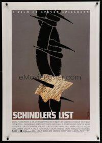 6z379 SCHINDLER'S LIST linen 1sh '93 Steven Spielberg, different unused art by Saul Bass, very rare!