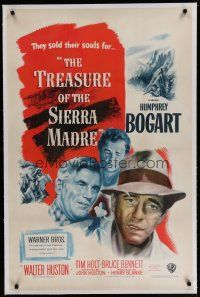 6z448 TREASURE OF THE SIERRA MADRE linen 1sh '48 Humphrey Bogart, Tim Holt & Walter Huston, classic!