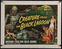 7a054 CREATURE FROM THE BLACK LAGOON linen style B 1/2sh '54 Reynold Brown art of monster & divers!