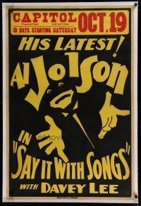 7a036 SAY IT WITH SONGS linen local theater 1sh '29 wonderful art of Al Jolson in blackface!