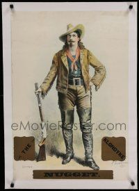 7a023 KLONDYKE NUGGET linen stage play English stage poster 1898 great art of Buffalo Bill Cody!