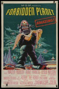 7b010 FORBIDDEN PLANET 1sh '56 classic art of Robby the Robot carrying sexy Anne Francis!