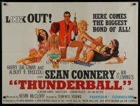 7d098 THUNDERBALL British quad '65 art of Sean Connery as James Bond with sexy girls by McGinnis!