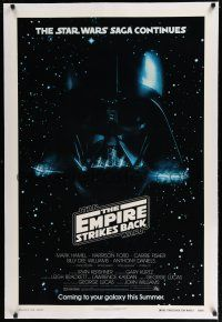 7r032 EMPIRE STRIKES BACK linen white title advance 1sh '80 Vader, only white title example known!