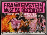 8g206 FRANKENSTEIN MUST BE DESTROYED British quad '70 Peter Cushing, monstrous than his monster!