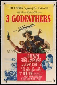 9f001 3 GODFATHERS linen 1sh '49 cowboy John Wayne in John Ford's Legend of the Southwest!