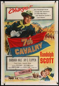 9f003 7th CAVALRY linen 1sh '56 Randolph Scott at Little Big Horn, directed by Joseph H. Lewis!