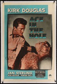 9f004 ACE IN THE HOLE linen 1sh '51 Billy Wilder classic, c/u of Kirk Douglas choking Jan Sterling!