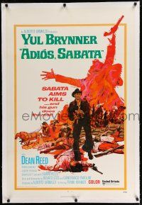 9f005 ADIOS SABATA linen int'l 1sh '71 Yul Brynner aims to kill, and his gun does the rest, cool art