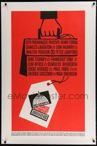 9f006 ADVISE & CONSENT linen 1sh '62 Otto Preminger, classic Saul Bass Washington Capitol artwork!