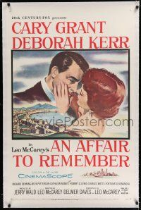 9f007 AFFAIR TO REMEMBER linen 1sh '57 romantic c/u art of Cary Grant about to kiss Deborah Kerr!
