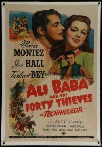 9f008 ALI BABA & THE FORTY THIEVES linen 1sh '43 art of Maria Montez, Jon Hall & Turhan Bey!