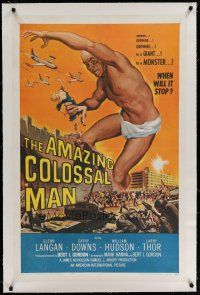 9f010 AMAZING COLOSSAL MAN linen 1sh '57 Bert I. Gordon, art of the giant monster by Albert Kallis!