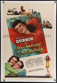 9f011 AMAZING MRS. HOLLIDAY linen style D 1sh '43 many images of Deanna Durbin, c/u & full length!
