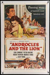 9f012 ANDROCLES & THE LION linen 1sh '52 artwork of Victor Mature holding Jean Simmons!
