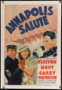 9f014 ANNAPOLIS SALUTE linen 1sh '37 art of Navy cadet James Ellison, Marsha Hunt & Harry Carey!