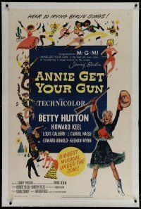 9f015 ANNIE GET YOUR GUN linen 1sh R56 Betty Hutton as the greatest sharpshooter, Howard Keel