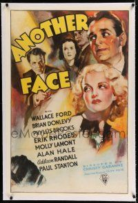 9f016 ANOTHER FACE linen 1sh '35 art of gangster turned playboy actor w/ new plastic surgery face!