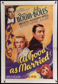 9f019 AS GOOD AS MARRIED linen style B 1sh '37 John Boles marries Doris Nolan for tax benefits!