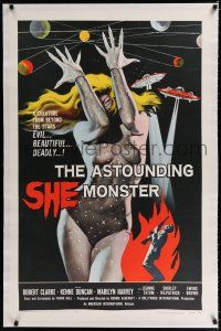 9f020 ASTOUNDING SHE MONSTER linen 1sh '58 art of the beautiful & deadly creature from the stars!