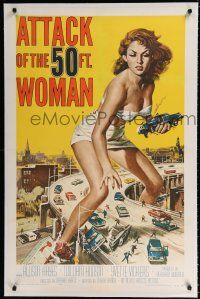 9f021 ATTACK OF THE 50 FT WOMAN linen 1sh '58 classic Brown art of Allison Hayes over highway!