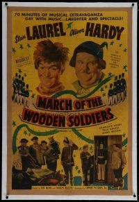 9f022 BABES IN TOYLAND linen 1sh R50 Stan Laurel & Oliver Hardy in March of the Wooden Soldiers!
