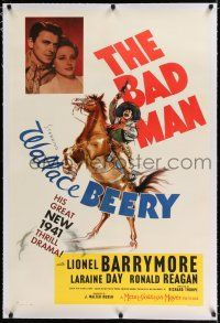 9f024 BAD MAN linen style D 1sh '41 art of Wallace Beery on horse + Ronald Reagan & Laraine Day!