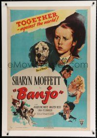 9f025 BANJO linen 1sh '47 adorable Sharyn Moffett & her beloved dog against the world!