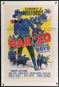 9f026 BAR 20 linen 1sh R40s Robert Mitchum billed under William Boyd as Hopalong Cassidy!