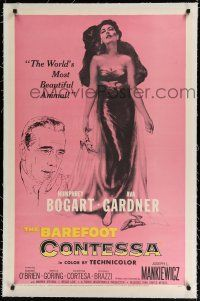 9f027 BAREFOOT CONTESSA linen 1sh '54 Humphrey Bogart & artwork of sexy full-length Ava Gardner!