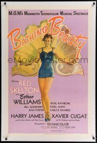 9f028 BATHING BEAUTY linen style C 1sh '44 full-length art of sexy Esther Williams in swimsuit!