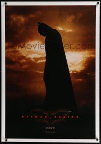 9f029 BATMAN BEGINS linen June 17 teaser 1sh '05 Christian Bale as the Caped Crusader!
