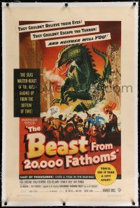 9f030 BEAST FROM 20,000 FATHOMS linen 1sh '53 Ray Bradbury, the sea's master-beast of the ages!
